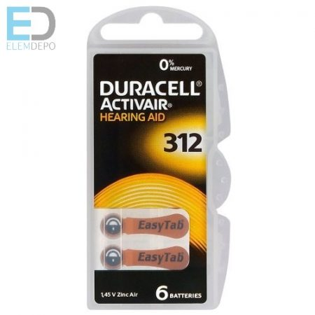 Duracell 1db elem hallókészülék elem DA312N6