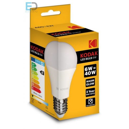 KODAK LED GLOBE A60 E27 6W (40W) 480LM WARM-WHITE  30415539