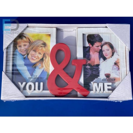 """Osztott képkeret """" You & Me """" 2 db 10 cm x 15 cm képnek"""