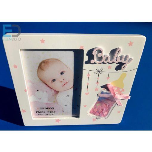 """Gedeon Photo frame """" Baby """" fehér-rózsaszín babás képkeret 10 x 15cm képnek"""