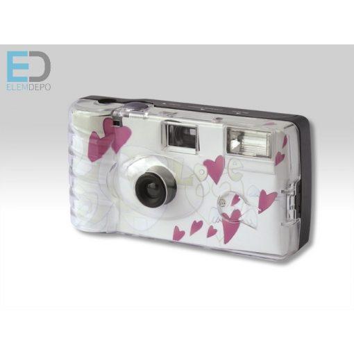 """Egyszer használatos - eldobható esküvői kamera Single-Use Wedding Camera 400 ASA 27 Flash """"Flying Hearts"""""""