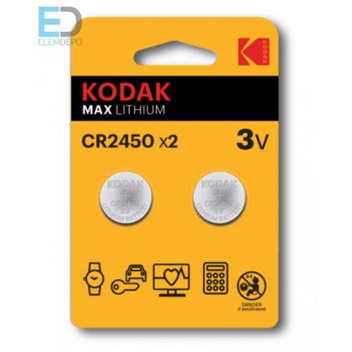 Kodak Max CR 2450 KCR2450 Lithium B2 ( 1db elem )