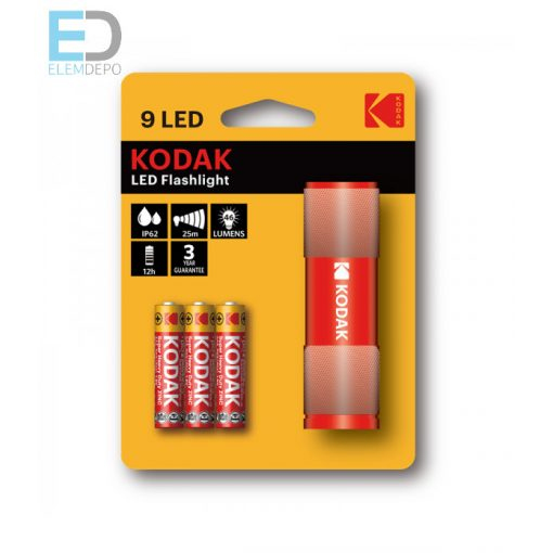 Kodak elemlámpa 9 LED Flashlight IP62 piros aluminium váz
