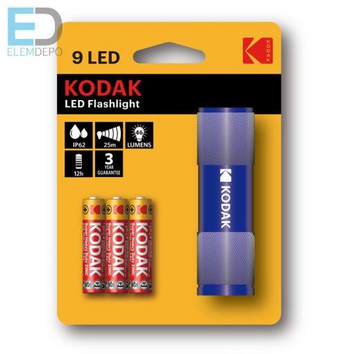 Kodak elemlámpa 9 LED Flashlight IP62 kék aluminium váz