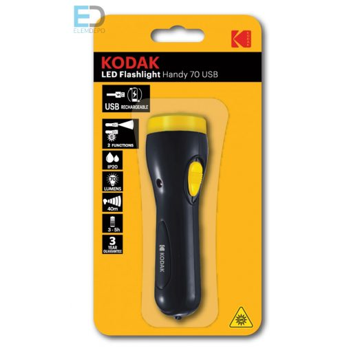 Kodak elemlámpa LED Flashlight Handy 70 USB tölthető Li-Ion